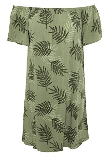 Fresh Made Damen Kleid mit Carmen Ausschnitt   Schulterfreies Sommerkleid aus Leichter Viskose Green S (Lust Sandalen Mädchen, Die Auf)