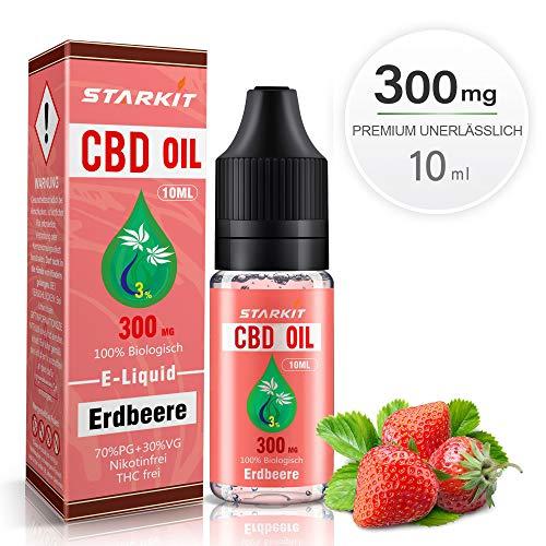 STARKIT® CBD Liquids 300mg,Vape Öl 10ml mit 3{a9a340ddd6472f10f5fbdfe6d43b302b888473c3d53753065836cbdd82b3f493} Cannabidiol Hanf Öl für E Zigaretten Starter Set SMOK E Shisha, PG70/VG30 E Liquid, ohne Nikotin, ohne THC, Erdbeere Geschmack(Erdbeere, 300mg)