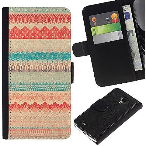 Samsung Galaxy S4 Mini i9190 MINI VERSION! Disegno cuoio stile del raccoglitore della Case caso telefono della pelle custodia - Vintage Vignette Cloth Textile Pattern Quilt - Fancy Quilt