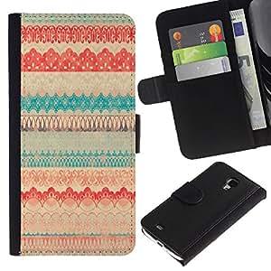 Samsung Galaxy S4 Mini i9190 MINI VERSION! Disegno cuoio stile del raccoglitore della Case caso telefono della pelle custodia - Vintage Vignette Cloth Textile Pattern Quilt