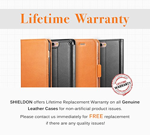 iPhone 6S Plus Hülle iPhone 6 Plus Hülle, SHIELDON [Lifetime Garantie] Echt Leder Tasche, Ultra-dünne Handyhülle, Extra-slim Schutzhülle Case Cover für iPhone 6S Plus / 6 Plus (5.5 Zoll) , Cognac Brau Braun