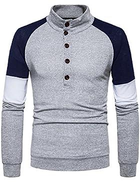 Maglia lavorata a maglia uomini colorati bussato a maniche lunghe casual Sau testa Kit, grigio chiaro ,2XL