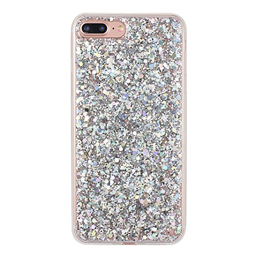 Custodia Per iPhone 7 Plus, Asnlove Soft Silicone Cover Brillante TPU Caso Bling Paillette Cassa Antiurto Case Bumper Per iPhone 7 Plus - Argento Argento
