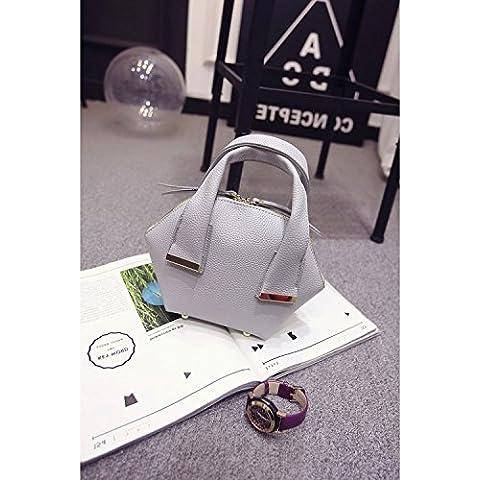 Borse Moda Candy-guscio colorato borsa retrò Pu tumble laptop borsa a tracolla shell Pack,piccolo grigio