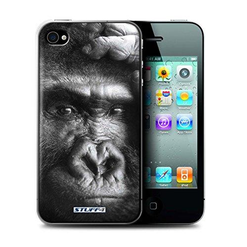 Stuff4® Hülle/Hülle für Apple iPhone 4/4S / Gorilla/AFFE Muster/Wilde Tiere Kollektion (Affe 4s Iphone)
