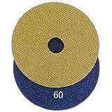 Diamantschleifscheiben, Schleifpad mit Klettaufnahme zum Schleifen und Polieren für Fliesen, Feinsteinzeug, Naturstein, Keramik (Körnung 60)