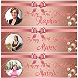 fancyprint 2 Personalisierte Geburtstagsbanner Foto Rose Gold Erwachsene Mädchen Party Ballon Poster Dekoration