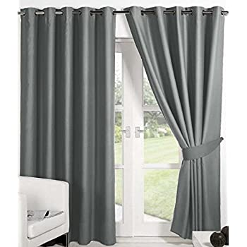 Geo Nature Long Door Eyelet Grey Plain Curtains Set Of 2 (4X9 Feet)