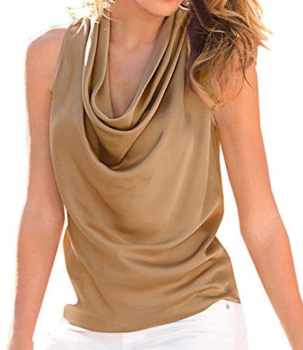 Frauen Sommer Sleeveless Loose Chiffon Weste Tops V-Ausschnitt Normallacks Shirt Oberteile Khaki