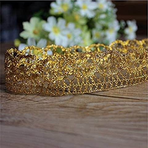 10 Yards Gold Lace Edge Trim Ribbon Metallic Yarn Sewing Craft DIY