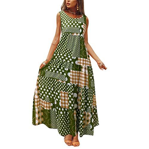 Vestidos Moda Mujer Elegante Mujer Sin Mangas Cuello Mode De Marca Redondo Retro Bohemia Falda Larga Lunares Estampado Costura Cuadros Vestido Verano Vestidos Maxi (Color : Verde, Size : S)