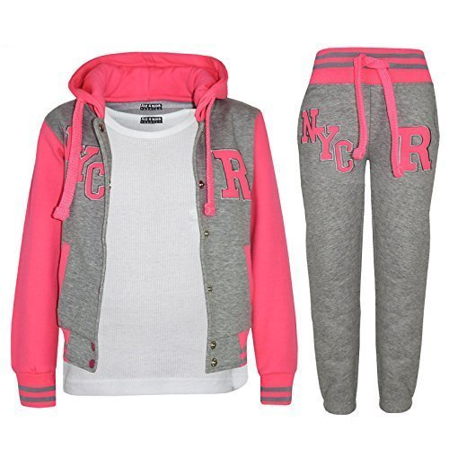 Kids Girls Boys Baseball Tracksuit - NYC Grey & Neon Pink - 9-10 Years