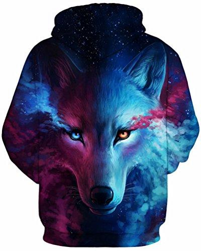 OLIPHEE Herren Wolf 3D Druck Langarm Kapuzenpullover Unisex Hoodie Sweatshirt mit Kängurutasche Blau Rosa