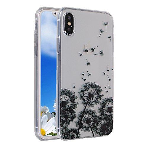 2 PCS iPhone X Slim Case 5.8 Zoll, iPhone 10 Slim Case, iPhone X Backcase, Moon mood® Geprägte Relief Gemalte TPU Silikon Handyhülle Schutzhülle Case für iPhone X / iPhone 10 5.8 Zoll Thin Dünn Weich  A Löwenzahn