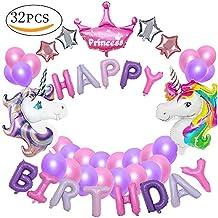 MMTX Decorazioni per feste unicorno, con 2pcs enorme palloncino unicorno, buon compleanno Ballon Banner, del partito per l'infanzia ragazza festa di compleanno della signora, matrimonio (unicorno)