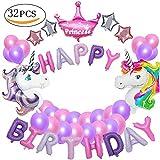 MMTX Einhorn Party Dekorationen Supplies, mit 2 Stück Geburtstag Mädchen Ballon, alles Gute zum Geburtstag Ballon Banner Decko, 4 Stück Helium Folie Star, 1 Krone und 24 Stück Latex Party Ballons für Kleinkinder Mädchen Boy Lady Birthday Party, Hochzeit (Einhorn)