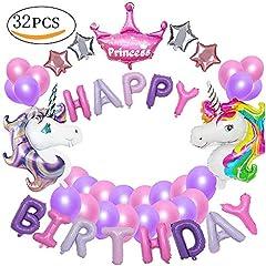 Idea Regalo - MMTX Decorazioni per feste unicorno, con 2pcs enorme palloncino unicorno, buon compleanno Ballon Banner, del partito per l'infanzia ragazza festa di compleanno della signora, matrimonio (unicorno)