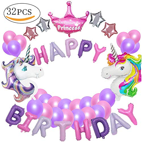 MMTX suministros de decoraciones de fiesta de unicornio, con 2pcs enorme globo de unicornio, feliz cumpleaños Ballon Banner, estrella de helio de 4pcs, 1 corona y 24pcs globos de fiesta de látex para niña pequeña fiesta de cumpleaños de dama de niño, boda (unicornio)