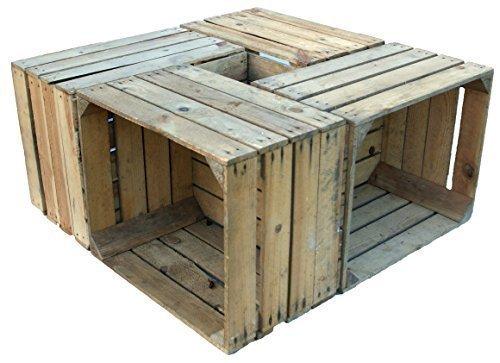 4 Piezas sólido Cajas de madera 'Johanna' Cajas de manzana Cajas de vino Cajas de fruta Shabby antiguo usado Vintage