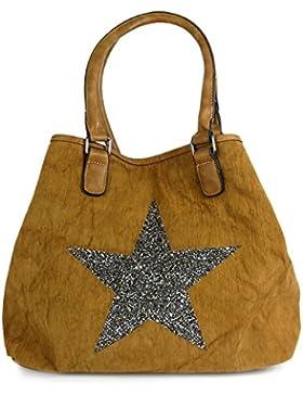 [Gesponsert]Große Sterne Handtasche Beuteltasche Canvas Pailletten Stern Shopper