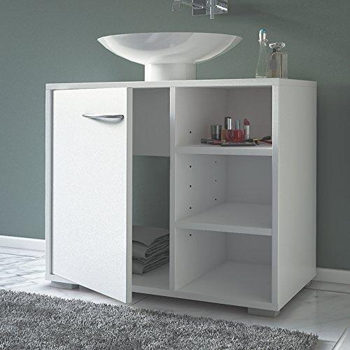 Waschbeckenunterschrank mit Siphonausschnitt in weiß - 3