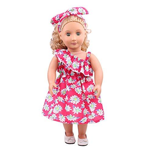 12shage Puppe Kleidung Puppenkleider Blumenkleid für American 18 Zoll Girl Doll Sommer Urlaub Zubehör Spielzeug Strand Outfits Dress Set (Hot Pink) - American Strand Girl Puppe Kleidung