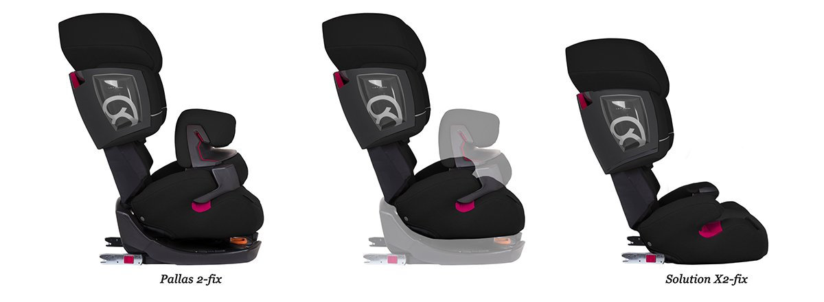 CYBEX Silver Pallas 2-Fix 2-in-1 Child's Car Seat, For Cars with and without ISOFIX, Group 1/2/3 (9-36 kg), From approx. 9 Months to approx. 12 Years, Pure Black  Adjustable safety cushion: More comfort and freedom of movement 2-in-1 seat: Can be used for up to 11 years 3