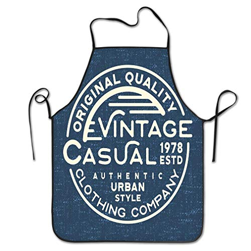 zexuandiy Aprons Bib Adult Lace Adjustable Polyester Chef Cooking Long 20.4 * 28.3 inch Casual Vintage Stamp Denim Print Design Printing Badge Applique Labels Jeans urban wear -