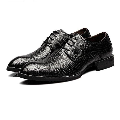 Xujw-shoes, 2018 Scarpe stringate basse, Scarpe da uomo in vera pelle di coccodrillo Texture superiore Lace Up Business oxford traspirante foderato (Colore : Nero, dimensione : 41 EU)