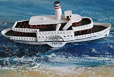 Schiffsmodell Raddampfer Freya Miniatur Boot Schiff ca. 12 cm von muschel-sammler-shop