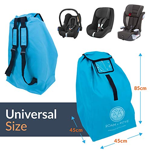 Car Seat Bag- for Air Travel, Universal Size, Water Resistant Durable Fabric, Backpack Carry, with Pushchair Clip.