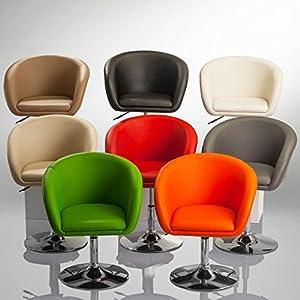 Sessel höhenverstellbar Esszimmerstuhl Kunstleder Clubsessel Coctailsessel Lounge Sessel Farbauswahl – TYP 440, Farbe:Grau, Material:Kunstleder