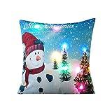 RWINDG Leuchtet Weihnachten Kissen LED Leuchtet Kissen Kreative Druck Leinen GrüN KissenfüLlung Baumwolle SchöNe GüNstige Weiß