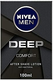 NIVEA MEN DEEP After Shave Lotion, Antibacterial Black Carbon, Woody Scent, 100ml