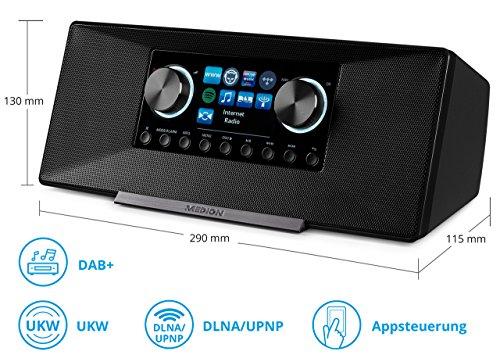 MEDION LIFE P85135 MD 87990 7,1 cm (2,8 Zoll TFT-Display) WLAN Internet-Radio, 2x6 W RMS, DLNA-/UPnP, DAB+, FM/UKW, LAN, USB 2.0, AUX, Spotify, grau