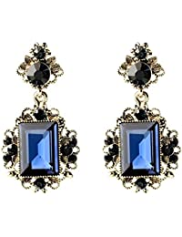 Casa de joy Regal estilo retro inspirada en estilo victoriano Royal azul joya lujo gota Dangle Pendientes