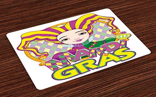 ABAKUHAUS Mardi Gras Platzmatten, Karneval Mädchen in Harlekin Kostüm und Hut Cartoon Fat Dienstag Theme, Tiscjdeco aus Farbfesten Stoff für das Esszimmer und Küch, Lila Gelb Grün (Männliche Harlekin Kostüm)