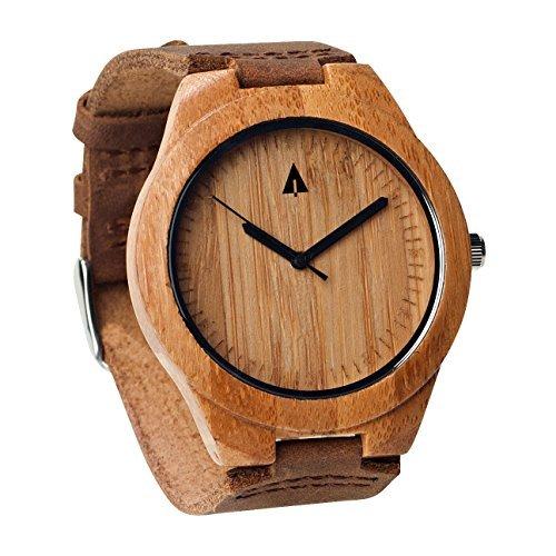 Treehut Herren Bambusholz-Armbanduhr, braunes Echtleder-Band, Quarz, Analog, mit Hochwertigem Miyota-Uhrwerk, 4,3cm