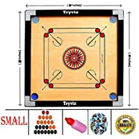 Wooden Finish Carrom Board for Kids and Children with Coins Sticker and Powder, Brown (Small Size 20 inch)