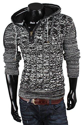 TAZZIO Herren Pullover Grobstrick Modischer Rollkragenpullover Winterpullover Zierknöpfe Pulli Größe S - 3XL Schwarz Weiss Brooklyn