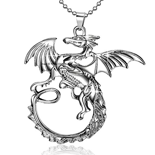 YELLOW CHIMES Dragon on the wall Stainless Steel Pendant for Boys and Men by YELLOW CHIMES