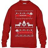 Kids Hundeliebhaber Dackel Ho Ho Kinder Pullover Sweatshirt L 134/146 (9-11J) Rot