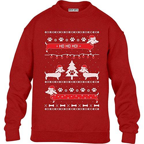 KIDS Weihnachtsgeschenk Hundeliebhaber Dackel Ho Ho Kinder Pullover Sweatshirt XL 152/164 (12-14J) Rot