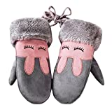 Lenfesh Baby Mädchen Jungen Winter Warme Niedlich Handschuhe Kinder Vollfinger Handschuhe Fäustlinge (Grau)