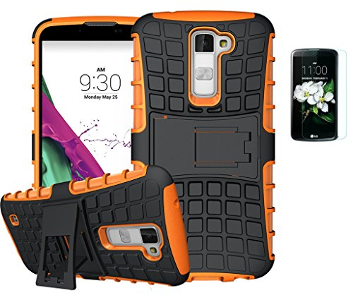 ISENPENK LG K10/K420N/LG K10 Dual SIM(2016) Hülle mit Panzerglas/Schutzfolie,TPU+PC Ultra Slim Silikon Tough Rugged Dual-Layer Hardcase with Built-in Kickstand Thin Schutzhüllen,Wasserdicht Shockproof Anti Slip Protection Stand Case Tasche für LG K10/K420N/LG K10 Dual SIM(2016) 5.3Zoll-[orange]+Panzerglas/Schutzfolie/Displayschutzfolie
