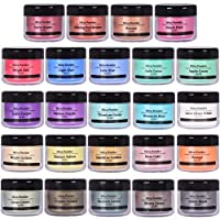 SEISSO Mica Powder Pigment, Natural Epoxy Resin Dye, Premium Mica Powder Set 24 Colors with Label for Soap Making, Lip Gloss, Bath Bomb, Acrylic Paints, Polymer Clay, Nail Polish Art, 0.35oz Each