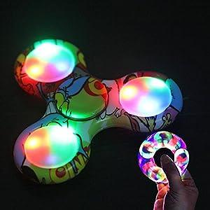 Ouneed® Lumineuse Rainbow Fidget Hand Spinner LED Jouet a doigt dure de 1-3 mins (J)