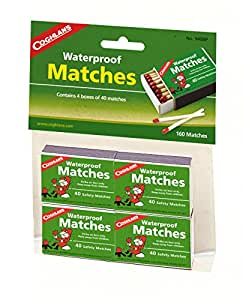 Coghlans Waterproof Matches - Green, 4 Pack