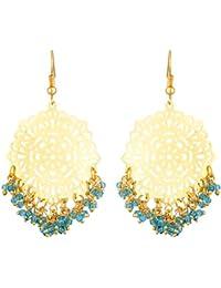 Kshitij Jewels Blue Alloy Dangle & Drop Earrings For Women (KJS346)