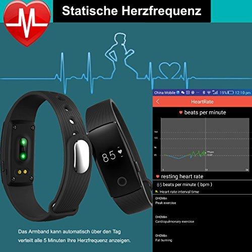 AsiaLONG Fitness Armband mit Pulsmesser – Puls Armband Schrittzähler Fitness Tracker Aktivitätstracker mit Schlafanalyse, Kalorienzähler, Vibrationswecker Anruf SMS Whatsapp Vibration für iOS und Android Handy (Upgrade) - 4